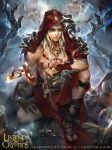 abs artist_name blonde_hair blood card copyright_name fire highres hood injury jewelry legend_of_the_cryptids long_hair male_focus necklace official_art red_eyes sandals skull solo tarot zinnadu
