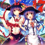 2girls black_hat blouse blue_flower blue_hair blue_skirt blue_sky blush bow bowtie breasts capelet center_frills cloud cowboy_shot day eyebrows_visible_through_hair field floating_island flower flower_field food frilled_capelet frilled_shawl frilled_shirt_collar frills fruit hair_between_eyes hand_holding hand_up hands_up hat hat_bow highres hinanawi_tenshi interlocked_fingers kirero leaf long_hair long_sleeves looking_at_viewer medium_breasts multiple_girls nagae_iku open_mouth orange_flower orange_rose outdoors peach petals pink_bow pink_neckwear puffy_short_sleeves puffy_sleeves purple_hair purple_skirt red_bow red_eyes red_flower red_neckwear red_rose rose shawl shirt short_hair short_sleeves sidelocks skirt sky smile sparkle standing touhou very_long_hair white_blouse white_flower white_rose white_shirt wing_collar yellow_flower yellow_rose
