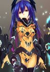 1girl blue_hair bodysuit breasts covered_navel cowboy_shot gradient_hair grey_background hair_between_eyes long_hair looking_at_viewer medium_breasts multicolored_hair orange_eyes phantasy_star phantasy_star_online_2 purple_hair shimozuki_shio simple_background solo standing twintails two-tone_hair yellow_bodysuit zelsius