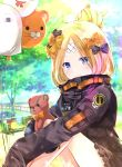 1girl abigail_williams_(fate/grand_order) balloon bangs bench black_bow black_jacket blonde_hair blue_eyes blurry blurry_background blush bow closed_mouth commentary_request day depth_of_field eyebrows_visible_through_hair fate/grand_order fate_(series) hair_bow hair_bun highres iroha_(shiki) jacket long_hair long_sleeves object_hug orange_bow outdoors park_bench parted_bangs polka_dot polka_dot_bow sitting sleeves_past_fingers sleeves_past_wrists smile solo stuffed_animal stuffed_toy teddy_bear tree
