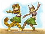 2018 anthro barefoot breasts brown_fur brown_hair cat coconut coconut_bra dancing feline female flower food fruit fur gloria grass_skirt green_eyes hair hula ink lei luau lynx mammal marker opal pink_nose plant sand smile toonfx traditional_media_(artwork) whiskers