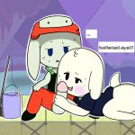 ambiguous_gender anthro blush bottomless cave_story clothed clothing fur hand_on_penis hat kanpachi lagomorph male mammal mimiga mykendyke penis questionable_consent quote shirt sweat video_games white_fur