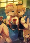 6+girls alice_margatroid apron bangs between_fingers blonde_hair blue_dress blue_eyes blue_shawl blunt_bangs blush book bow capelet dress eyebrows_visible_through_hair frilled_dress frills hair_bow hairband holding_needle indoors kirisame_marisa lolita_hairband long_hair looking_at_another looking_at_viewer multiple_girls needle open_book open_mouth red_bow red_headband red_neckwear sewing sewing_needle shanghai_doll shinoba short_hair short_sleeves sitting touhou white_apron white_bloomers white_capelet yellow_eyes