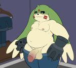 2018 anthro balls belly big_balls big_ears big_penis black_sclera chest_tuft clothed clothing cute_fangs darkened_genitals digimon digital_media_(artwork) dressing_room_(disambiguation) fangs firebadger front_view frown fur gargomon glans green_fur gun gun_arm hi_res humanoid_penis jeans lagomorph long_ears looking_at_penis looking_down male mammal markings navel nipples overweight overweight_male pants partially_clothed penis poking_out ranged_weapon red_markings solo standing teeth thick_penis tuft weapon white_fur