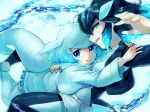 2girls aqua_hair beluga_whale_(kemono_friends)_(stylecase) black_hair blowhole blue_eyes bodysuit borrowed_character commentary_request eyebrows_visible_through_hair frilled_skirt frills hanada_(cobalt003) highres jacket kemono_friends killer_whale_(kemono_friends)_(stylecase) long_sleeves multicolored_hair multiple_girls original short_hair shorts signature skirt sleeveless sweater tail thighhighs water whale_tail white_hair zettai_ryouiki