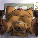 2016 anthro bed belly blush brown_fur bulge canine clothing fur male mammal moobs navel nipples ojijinotete overweight overweight_male pillow solo tanuki underwear
