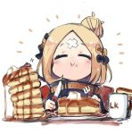 abigail_williams_(fate/grand_order) black_jacket butter chibi cup eating eyes_closed fate/grand_order fate_(series) food fork hair_bun jacket knife mug pancake stack_of_pancakes sukima_(crie) syrup upper_body