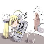 1girl ahoge alcohol azur_lane bangs bare_shoulders blonde_hair brown_eyes can chibi commentary_request cup detached_sleeves dress drinking_glass eldridge_(azur_lane) eyebrows_visible_through_hair flying_sweatdrops fur_trim hair_ornament hairclip holding holding_can long_hair long_sleeves minigirl out_of_frame puffy_long_sleeves puffy_sleeves simple_background sleeveless sleeveless_dress solo_focus standing table thighhighs translation_request twintails u-non_(annon'an) very_long_hair white_background white_dress white_footwear white_legwear