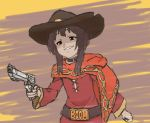 belt_buckle buckle cellix cosplay cowboy_hat crossover english epic gun handgun hat highres kono_subarashii_sekai_ni_shukufuku_wo! mccree_(overwatch) mccree_(overwatch)_(cosplay) megumin meme multicolored multicolored_background overwatch revolver smug weapon what