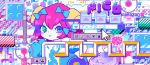 1girl abstract blue_bow blue_eyes blush bomb bow buttons cursor eighth_note game_boy green_eyes hair_between_eyes hair_bow hammer handheld_game_console icon m7kenji musical_note original pixel_art red_hair short_hair solo translation_request