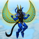 2017 anthro armor black_fur black_hair breasts cat cosplay egyptian excited feline female flying fur hair mammal may825 middles nefermasi nipples overwatch pharah sky smile solo straight_hair theviewer34 ultimate vid vid17 video_games wings yellow_ears yellow_nipples