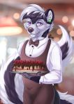 2017 anthro apron ayken big_tail black_fur black_hair black_nose black_tail bow_tie cake cheek_tuft claws clothed clothing digital_media_(artwork) ear_piercing eyebrows eyebrows_visible_through_hair food foxysoul front_view fully_clothed fur hair hi_res holding_object long_tail looking_at_viewer male mammal mephitid multicolored_fur multicolored_hair multicolored_tail piercing purple_eyes short_hair skunk solo standing tuft two_tone_fur two_tone_hair two_tone_tail waiter white_claws white_fur white_hair white_tail