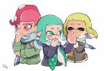 1boy 2girls adjusting_clothes adjusting_scarf aqua_eyes aqua_hair blonde_hair blue_scarf blush breath brown_jacket domino_mask eyes_closed fang furrowed_eyebrows hand_holding inkling jacket kirikuchi_riku long_hair long_sleeves mask mohawk multiple_girls octarian octoling pink_eyes pink_hair plaid plaid_scarf pointy_ears scarf shared_scarf short_hair simple_background splatoon_(series) suction_cups tentacle_hair upper_body white_background