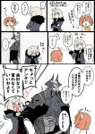 1boy 2girls ahoge armor bangs black_cloak black_dress blush chaldea_uniform coat comic commentary_request directional_arrow dress eighth_note eiri_(eirri) embarrassed eyebrows_visible_through_hair facepalm fate/grand_order fate_(series) fujimaru_ritsuka_(female) fur-trimmed_coat fur_trim glowing glowing_eyes hair_between_eyes hair_ornament hair_scrunchie horns jacket jealous jeanne_d'arc_(alter)_(fate) jeanne_d'arc_(fate)_(all) jeanne_d'arc_(alter)_(fate) jeanne_d'arc_(fate)_(all) king_hassan_(fate/grand_order) long_sleeves multiple_girls musical_note open_mouth orange_hair peeking_out pulling scrunchie short_hair side_ponytail silver_hair skull skull_mask sparkle sparkling_eyes speech_bubble spikes spoken_ellipsis sweatdrop translated tsundere white_background wicked_dragon_witch_ver._shinjuku_1999 yellow_eyes yellow_scrunchie