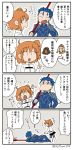 1boy 1girl 4koma :d arm_support arm_up asaya_minoru bangs black_skirt blue_bodysuit blue_hair bodysuit boots brown_hair chaldea_combat_uniform chaldea_uniform comic commentary_request earrings eyebrows_visible_through_hair eyes_closed fang fate/grand_order fate/stay_night fate_(series) fujimaru_ritsuka_(female) grey_legwear hair_between_eyes hair_ornament hair_scrunchie hair_strand holding holding_lance jacket jewelry knee_boots lance lancer long_hair long_sleeves low_ponytail lying on_side one_side_up open_mouth orange_scrunchie over_shoulder pantyhose polearm ponytail scrunchie skirt smile standing translation_request twitter_username uniform v-shaped_eyebrows weapon weapon_over_shoulder white_footwear white_jacket