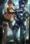 banned_artist bikini black_bikini black_gloves breasts bubble_blowing cleavage commentary cosplay elbow_gloves front-tie_bikini front-tie_top gloves gun harness headband holding holding_weapon holster looking_to_the_side metal_gear_(series) metal_gear_solid_v multiple_girls navel overwatch pantyhose purple_skin quiet_(metal_gear) quiet_(metal_gear)_(cosplay) rifle sakimichan sniper_rifle stomach sunglasses swimsuit thigh_strap toned torn_clothes torn_legwear tracer_(overwatch) weapon widowmaker_(overwatch)