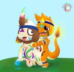 anthro charmander charmandrigo charmandrigo_(character) cum duo male male/male markings nintendo nude penis pokémon pokémon_(species) pokémorph smeargle tribal uncut video_games