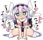1girl afterimage all_fours black_bow black_hairband blue_eyes blue_swimsuit blush bow capelet dragon_horns frilled_capelet frills hair_bow hairband head_tilt heart heart-shaped_pupils heavy_breathing horns kanikama kanna_kamui kneeling kobayashi-san_chi_no_maidragon long_hair looking_at_viewer no_shoes nose_blush one-piece_swimsuit parted_lips pink_hair purple_legwear school_swimsuit simple_background solo sweat swimsuit symbol-shaped_pupils tail tail_wagging thighhighs very_long_hair white_background white_capelet
