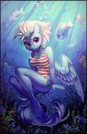 2018 5_fingers anthro baramx blue_feathers bracelet breasts bubble butt cleavage clothed clothing collaboration cute cutie_mark detailed_background equine eyebrows eyelashes feathered_wings feathers female fish fleetfoot_(mlp) friendship_is_magic hair hi_res hooves jewelry looking_at_viewer mammal marine my_little_pony navel one-piece_swimsuit pegasus plant portrait purple_eyes ramiras rock sharedast ship short_hair smile solo stripes sunlight swimsuit underwater vehicle water wet white_hair wings wonderbolts_(mlp)