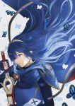 1girl aym_(ash3ash3ash) bangs blue_cape blue_eyes blue_gloves blue_hair broken_mask bug butterfly cape closed_mouth commentary english_commentary fingerless_gloves fire_emblem fire_emblem:_kakusei fire_emblem_heroes gloves hair_between_eyes holding holding_sword holding_weapon insect long_hair lucina mask mask_removed ribbed_sweater sheath shoulder_armor standing sweater sword tiara weapon