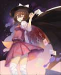 1girl absurdres black_cape black_hat bow breasts brown_hair cape card card_between_fingers commentary_request eyebrows_visible_through_hair fedora feet_out_of_frame from_below hair_between_eyes hat hat_bow high_collar highres holding holding_card looking_at_viewer low_twintails open_mouth pleated_skirt puffy_short_sleeves puffy_sleeves purple_skirt purple_vest revision rin_falcon shirt short_hair short_sleeves skirt small_breasts smile solo standing star_(sky) thighhighs thighs touhou twintails usami_sumireko vest white_bow white_legwear white_shirt yellow_eyes