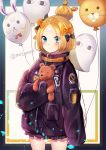 1girl abigail_williams_(fate/grand_order) absurdres balloon bangs black_bow black_jacket blonde_hair blue_eyes blush bow closed_mouth commentary_request cowboy_shot crossed_bandaids eyebrows_visible_through_hair fate/grand_order fate_(series) fou_(fate/grand_order) frilled_jacket hair_bow hair_bun highres jacket long_hair long_sleeves looking_at_viewer medjed meliyannn object_hug orange_bow parted_bangs polka_dot polka_dot_bow sleeves_past_fingers sleeves_past_wrists solo star stuffed_animal stuffed_toy teddy_bear twitter_username