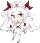 1girl :d azur_lane bandage bandaged_arm bandages bangs bare_shoulders bikini_top black_bikini_top chibi choker commentary_request dress eyebrows_visible_through_hair full_body garter_straps hair hair_between_eyes hand_up hat heart index_finger_raised long_hair looking_at_viewer mkbt nurse_cap open_mouth pink_choker red_eyes red_ribbon ribbon shoes silver_hair simple_background sleeveless sleeveless_dress smile solo standing thighhighs twintails uwabaki vampire_(azur_lane) very_long_hair white_background white_dress white_footwear white_hat white_legwear