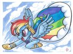 2018 blue_feathers clothed clothing cloud dress equine eyelashes feathered_wings feathers female feral flying footwear friendship_is_magic hair hair_tie hi_res hooves long_hair mammal marker_(artwork) multicolored_hair my_little_pony open_mouth open_smile outside pegasus portrait purple_eyes rainbow_dash_(mlp) rainbow_hair shoes signature sky smile solo spread_wings stripes tongue traditional_media_(artwork) whitediamonds wings