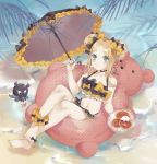 :t abigail_williams_(fate/grand_order) animal bangs bare_arms bare_shoulders barefoot bikini black_bikini black_bow black_umbrella blue_eyes blush bow closed_mouth collarbone commentary_request crab day double_bun eating emerald_float eyebrows_visible_through_hair fate/grand_order fate_(series) fingernails forehead fork frilled_umbrella frills hair_bow hand_up highres holding holding_fork holding_plate innertube light_brown_hair lizi13896363898 navel octopus orange_bow outdoors parted_bangs pink_innertube plate polka_dot polka_dot_bow polka_dot_innertube side_bun sidelocks solo swimsuit toenails tokitarou_(fate/grand_order) transparent umbrella water