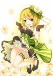 1girl blonde_hair boots bow brown_gloves dress eyebrows_visible_through_hair floral_background flower frilled_dress frills garters gloves gradient gradient_background green_background green_bow green_dress green_eyes hair_bow hair_flower hair_ornament hair_ribbon haruna_konomi highres kouusagi magia_record:_mahou_shoujo_madoka_magica_gaiden magical_girl mahou_shoujo_madoka_magica no_legwear open_mouth panties pantyshot pantyshot_(jumping) puffy_sleeves ribbon rose shiny shiny_skin short_hair short_sleeves smile solo soul_gem underwear white_background white_panties yellow_flower yellow_ribbon yellow_rose