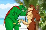 abs anthro ape balls banana bdsm beach biceps bondage bound cape clothing color_edit colored crocodilian crown domination donkey_kong_(character) donkey_kong_(series) duo edit erection food fruit humanoid_penis interspecies king king_k_rool kremling male male/male male_domination mammal muscular necktie nintendo outside pecs penis primate reptile royalty scalie seaside staticlustdemons submissive submissive_male tongue tongue_out video_games