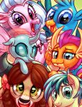 2018 absurd_res avian beak blue_eyes blue_feathers blue_hair bovine brown_hair bust_portrait changeling claws cute cute_fangs dragon earth_pony equine eyebrows eyelashes fangs feathered_wings feathers female feral floppy_ears friendship_is_magic gallus_(mlp) green_eyes group gryphon hair hair_bow hair_ribbon hi_res hippogryph hooves horn horse jewelry looking_at_viewer male mammal my_little_pony necklace ocellus_(mlp) open_mouth open_smile pink_feathers pony portrait purple_eyes ribbons sandbar_(mlp) scalie silverstream_(mlp) smile smolder_(mlp) teal_eyes teal_hair tongue whitediamonds wings yak yona_(mlp)