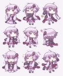 1girl :o :t ahoge bangs black_jacket chibi dress eyebrows_visible_through_hair highres hood hood_down hooded_jacket jacket long_hair long_sleeves low_twintails motion_lines no_nose open_clothes open_jacket open_mouth purple_dress purple_eyes purple_hair purple_legwear shigetake_(buroira) silhouette simple_background sleeves_past_fingers sleeves_past_wrists smile solo squiggle sweatdrop thighhighs trembling triangle_mouth twintails vocaloid voiceroid white_background yuzuki_yukari zettai_ryouiki