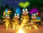 anthro balls campfire casual_nudity charmandrigo dancing flaccid foreskin iggy_koopa koopaling larry_koopa lemmy_koopa male mario_bros naturist night nintendo nude penis rodri_koopa shell_less tribal tribe uncut video_games