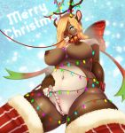 anthro antlers areola blep blonde_hair blue_eyes breasts candy candy_cane cervine christmas christmas_lights clothing female food hair hi_res holidays horn legwear low-angle_view mammal missaka mostly_nude navel nipples pussy reindeer smile solo tongue tongue_out