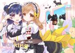 2girls :d animal_ears apron back_bow black_cat black_skirt black_vest blue_flower blue_hair blush bow bowtie brown_eyes brown_hair cat cat_ears commentary_request cover cover_page demon doujin_cover eyebrows_visible_through_hair fake_animal_ears flower food frilled_apron frilled_shirt_collar frills grey_neckwear hair_bow holding holding_tray hug hug_from_behind ice_cream indoors kunikida_hanamaru long_hair looking_at_viewer love_live! love_live!_sunshine!! maid maid_headdress mikimo_nezumi multiple_girls open_mouth orange_flower pink_flower purple_eyes round_teeth side_bun skirt smile spoon sundae teeth tray tsushima_yoshiko tulip upper_teeth v_over_eye vest waist_apron wrist_cuffs yellow_bow