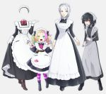4girls apron bags_under_eyes belt black_hair blonde_hair fangs gloves goshi-san grey_background hammer head_scarf heterochromia highres invisible maid maid_apron maid_headdress multicolored_hair multiple_girls original red_eyes silver_eyes silver_hair striped striped_legwear wrench