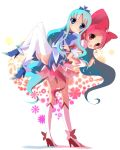 2girls :d ass bangs blue_bow blue_choker blue_eyes blue_footwear blue_hair blue_skirt blush boots bow choker commentary_request cure_blossom cure_marine dress eyebrows_visible_through_hair forehead grin hair_between_eyes hair_bow hanasaki_tsubomi haru_(nature_life) heart heartcatch_precure! high_heels knee_boots kneehighs kurumi_erika leaning_forward locked_arms long_hair magical_girl multiple_girls open_mouth parted_bangs pink_dress pink_hair ponytail precure puffy_short_sleeves puffy_sleeves red_bow red_eyes revision shirt shoes short_sleeves skirt smile standing thighhighs very_long_hair white_background white_footwear white_legwear white_shirt wrist_cuffs