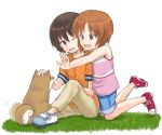 2girls :d ;d afterimage bangs blue_shorts brown_eyes brown_hair brown_pants commentary_request dog eyebrows_visible_through_hair girls_und_panzer grass kneeling looking_at_another looking_back motion_lines multiple_girls mutsu_(layergreen) nishizumi_maho nishizumi_miho one_eye_closed open_mouth orange_shirt pants petting pink_shirt purple_footwear shiba_inu shirt shoes short_hair short_sleeves shorts siblings sisters sitting smile tank_top white_background white_footwear younger