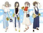 4girls adjusting_clothes adjusting_hat akakura ankle_strap aqua_nails bag bangs beige_hat belt black_hair black_tank_top blue_nails blue_pants brown_hair bucket cloud cloudy_sky collarbone collared_shirt denim earrings english flower frown full_body grey_eyes grey_hair grey_nails hair_bun hair_tie half_updo hand_in_hair hat high_heels highres holding holding_bucket holding_flower jacket jeans jewelry long_skirt looking_down medium_hair multiple_girls nail_polish off_shoulder open_mouth open_toe_shoes original pants platform_footwear pleated_skirt ponytail red_footwear red_nails red_shirt romper sandals shirt short_sleeves shoulder_bag sidelocks skirt sky sleeveless sleeveless_shirt smile standing summer sunflower tank_top tassel toenail_polish watch white_shirt white_skirt wristwatch yellow_footwear yellow_nails