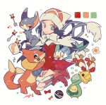 :3 artist_name auko beanie blue_eyes blue_hair blush_stickers boots bow bowtie budew buizel cat chinchou coat creatures_(company) cup dusk_ball female flower fork full_body game_freak gen_1_pokemon gen_2_pokemon gen_4_pokemon glameow half-closed_eye happy hat heterochromia highres kneehighs long_hair long_sleeves looking_to_the_side mug nintendo one_eye_closed open_mouth pachirisu pikachu pink_footwear poke_ball poke_ball_theme pokemon pokemon_(creature) pokemon_(game) pokemon_dppt pokemon_platinum red_coat red_eyes scarf signature simple_background smile spoon white_background white_hat white_legwear white_scarf wink yellow_eyes