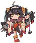 +_+ 1girl ahoge asymmetrical_legwear azur_lane bangs black_hair blush brown_eyes brown_legwear chibi china_dress chinese_clothes closed_mouth commentary dress eyebrows_visible_through_hair fur_trim hairband hairpods long_hair long_sleeves looking_at_viewer lyu ping_hai_(azur_lane) red_dress red_footwear shoes simple_background single_thighhigh smile solo standing standing_on_one_leg thick_eyebrows thighhighs twintails white_background white_hairband wide_sleeves