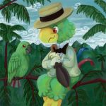 2011 ambiguous_gender anthro artsy-theo avian beady_eyes beak biped bird black_beak blue_feathers blue_tail bottomless bow_tie branch brown_eyes claws clothed clothing cloud cute digital_media_(artwork) digital_painting_(artwork) disney duo eye_contact feathered_wings feathers feral folded_wings gloves grass green_feathers green_wings half-closed_eyes hat holding_object holding_umbrella humanoid_hands josé_carioca jungle leaf looking_at_another low_res male mountain multicolored_feathers nature on_branch outside palm_tree parrot pork_pie_hat red_feathers red_tail signature sitting size_difference sky smile suit tail_feathers talons the_three_caballeros toe_claws toony tree two_tone_tail umbrella wings yellow_beak