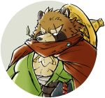 2018 anthro brown_fur canine clothing fur gyobu hat leaf male mammal okudami overweight overweight_male robe scar solo tanuki tokyo_afterschool_summoners