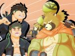 2018 anthro brown_fur canine clothed clothing fur group gyobu jinku_56 leaf male mammal overweight overweight_male robe scar tanuki tokyo_afterschool_summoners young