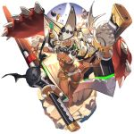 1girl beltbra breasts brown_eyes clover dark_skin four-leaf_clover full_body guilty_gear guilty_gear_xrd hat huge_weapon large_breasts last_period ramlethal_valentine revealing_clothes shorts solo thigh_strap thighs weapon white_hair white_hat white_shorts