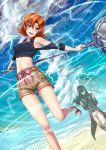 1boy 1girl adsouto breasts hammer lie_ren nora_valkyrie orange_hair rwby sandals short_hair shorts