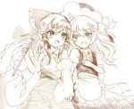 2girls :d apron ascot blush bow breasts commentary detached_sleeves gohei greyscale grin hair_bow hair_tubes hakurei_reimu hand_holding hand_on_own_chest hat kirisame_marisa large_bow long_hair looking_at_another monochrome multiple_girls open_mouth puffy_short_sleeves puffy_sleeves short_sleeves skirt skirt_set small_breasts smile touhou waist_apron wavy_hair witch_hat yuri yururi_nano