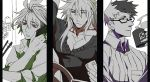 3boys antenna_hair arm_up casual cellphone closed_mouth contemporary cup fate/apocrypha fate/grand_order fate_(series) glasses male_focus mine_(odasol) mug multicolored_hair multiple_boys open_mouth pectorals phone red_eyes sieg_(fate/apocrypha) siegfried_(fate) sigurd_(fate/grand_order) simple_background sleeves_rolled_up smartphone split_screen sweater two-tone_hair white_background
