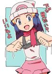 1girl bare_shoulders beanie black_shirt blue_background blue_eyes blue_hair female flat_chest hair_ornament hairclip hands_up hat hikari_(pokemon) japanese_text lifted_by_self long_hair looking_at_viewer matching_hair/eyes motion_lines natsunagi_takaki open_mouth outline pink_scarf pink_skirt poke_ball_theme pokemon pokemon_(game) pokemon_dppt scarf shirt shirt_lift simple_background skirt sleeveless sleeveless_shirt smile solo standing translation_request undershirt white_hat white_outline